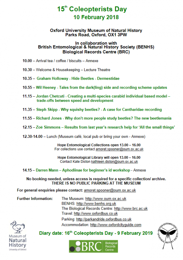 Coleopterists Day 2018 - programme